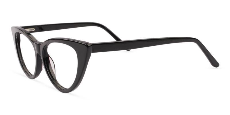 Black Nora - Acetate Eyeglasses , SpringHinges , UniversalBridgeFit
