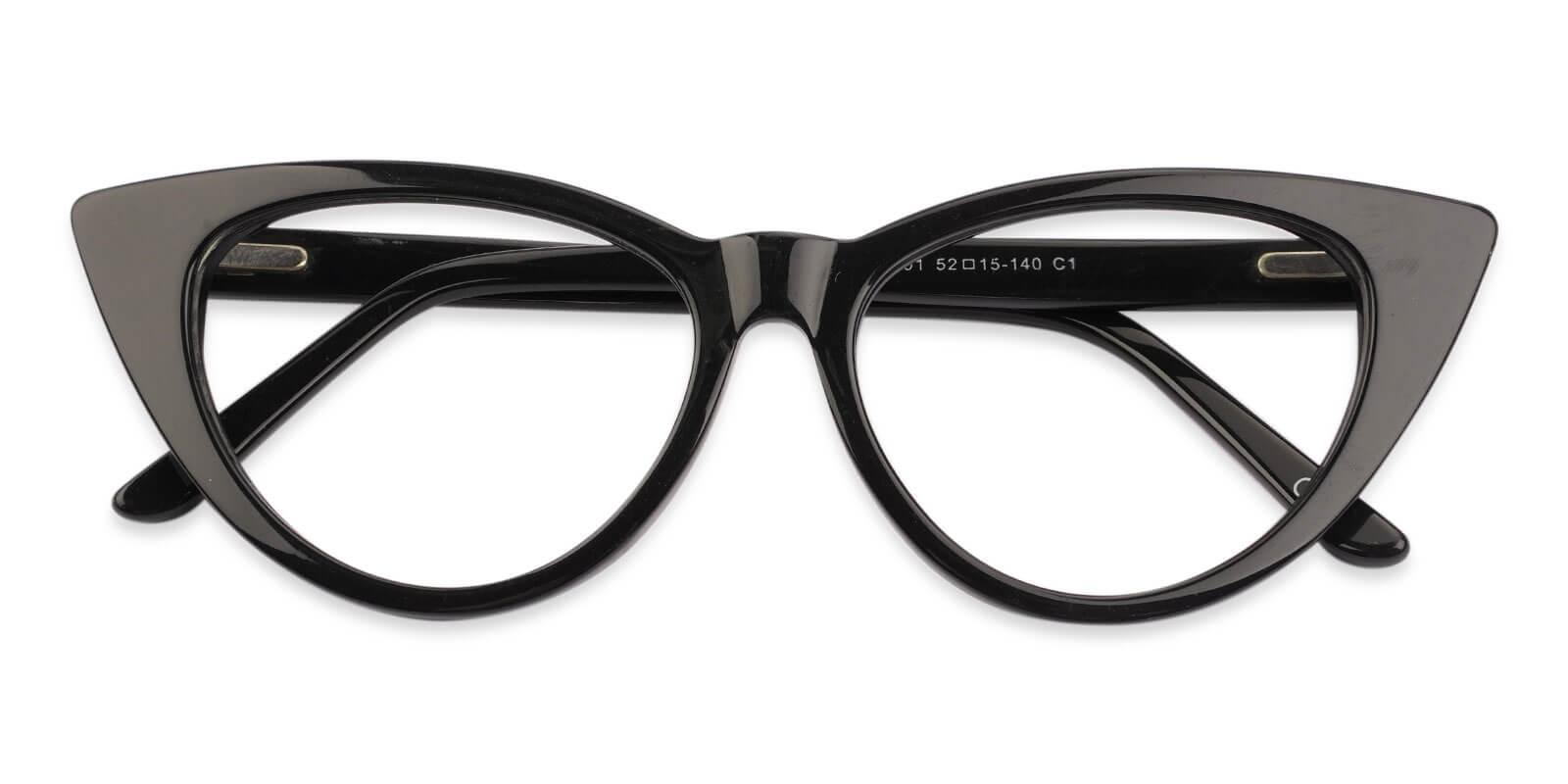 Nora Black Acetate Eyeglasses , SpringHinges , UniversalBridgeFit Frames from ABBE Glasses