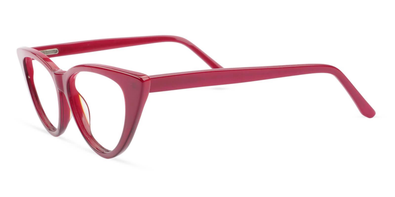 Nora Red Acetate Eyeglasses , SpringHinges , UniversalBridgeFit Frames from ABBE Glasses