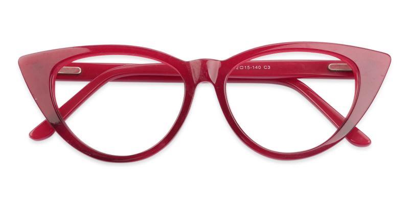 Red Nora - Acetate Eyeglasses , SpringHinges , UniversalBridgeFit