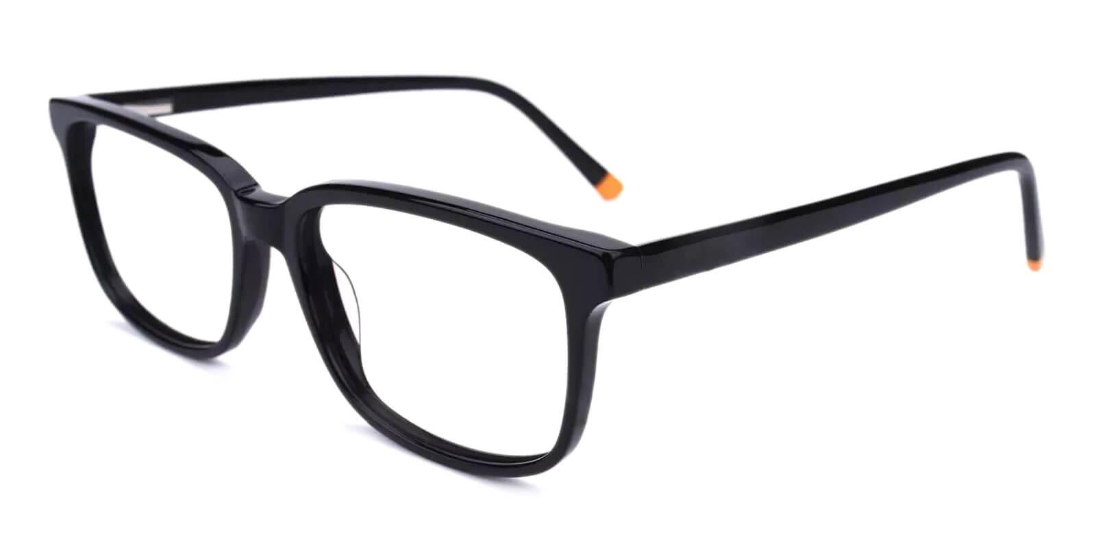 Leupp Corner Black Acetate Eyeglasses , SpringHinges , UniversalBridgeFit Frames from ABBE Glasses