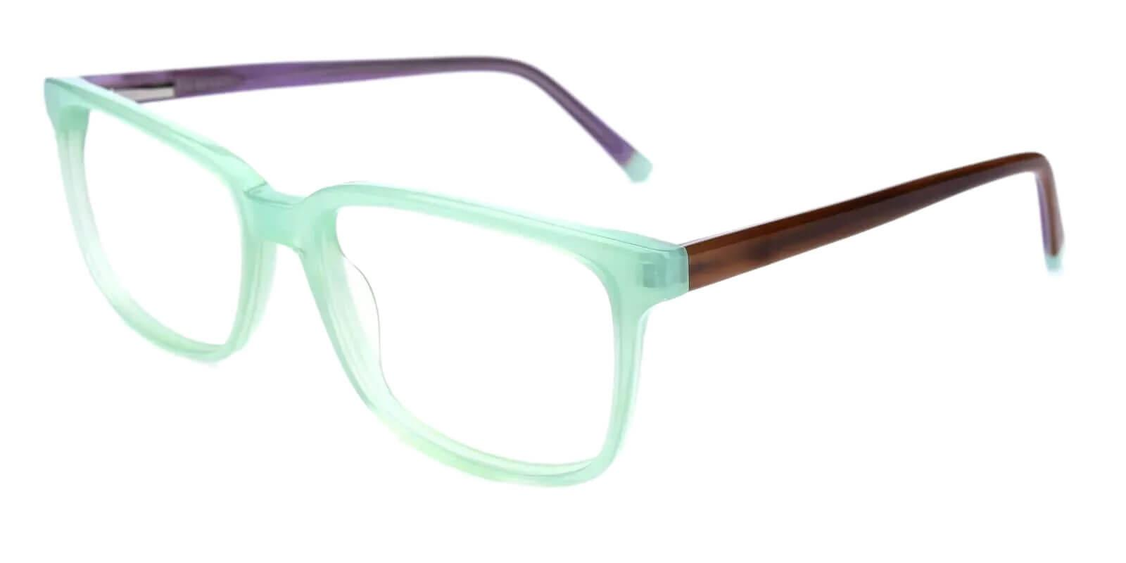 Leupp Corner Green Acetate Eyeglasses , SpringHinges , UniversalBridgeFit Frames from ABBE Glasses