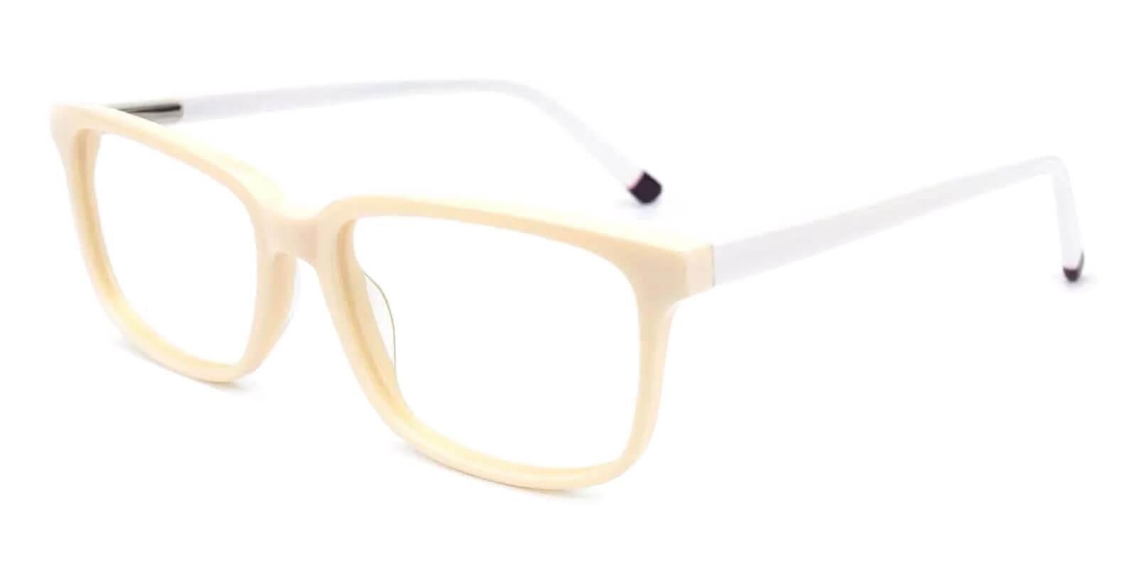 Leupp Corner White Acetate Eyeglasses , SpringHinges , UniversalBridgeFit Frames from ABBE Glasses