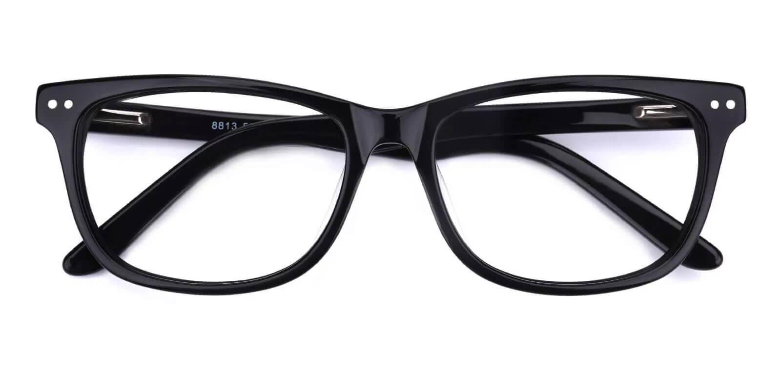 Alta Black Acetate Eyeglasses , SpringHinges , UniversalBridgeFit Frames from ABBE Glasses