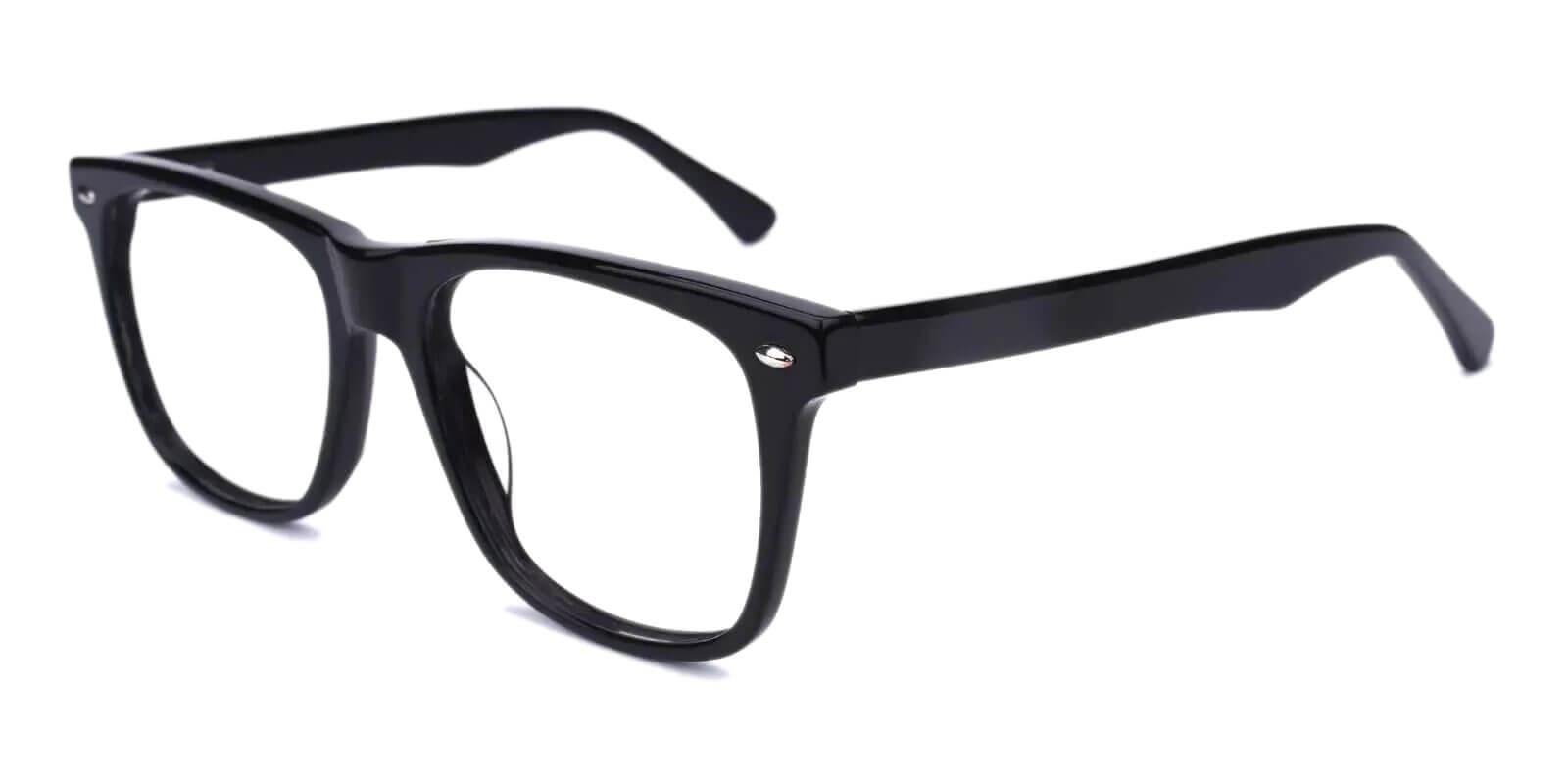 Montalvo Black Acetate Eyeglasses , SpringHinges , UniversalBridgeFit Frames from ABBE Glasses