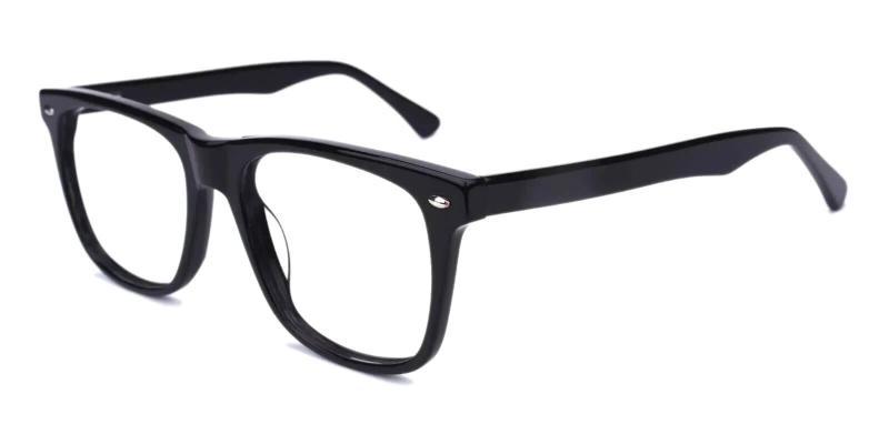 Black Montalvo - Acetate Eyeglasses , SpringHinges , UniversalBridgeFit
