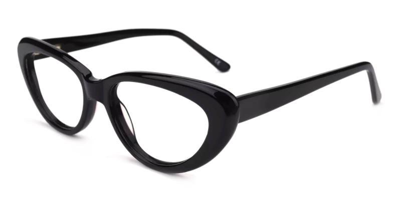 Black Stella - Acetate Eyeglasses , SpringHinges , UniversalBridgeFit