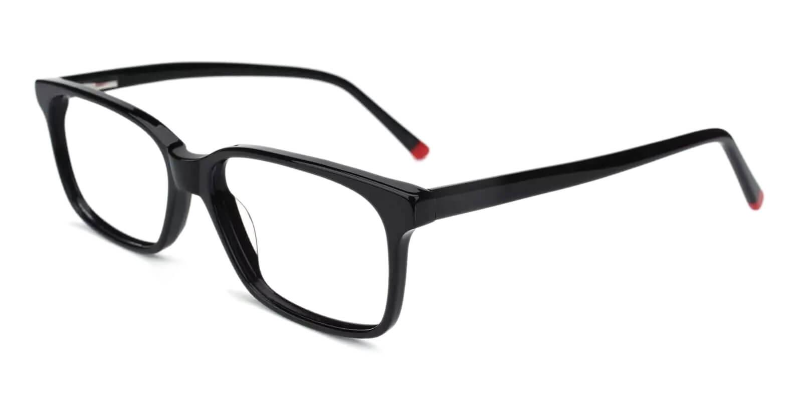 Lochloosa Black Acetate Eyeglasses , SpringHinges , UniversalBridgeFit Frames from ABBE Glasses