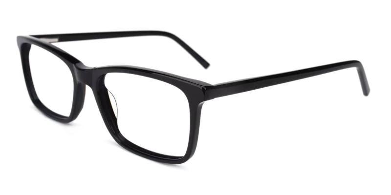 Black Quasqueton - Acetate Eyeglasses , SpringHinges , UniversalBridgeFit