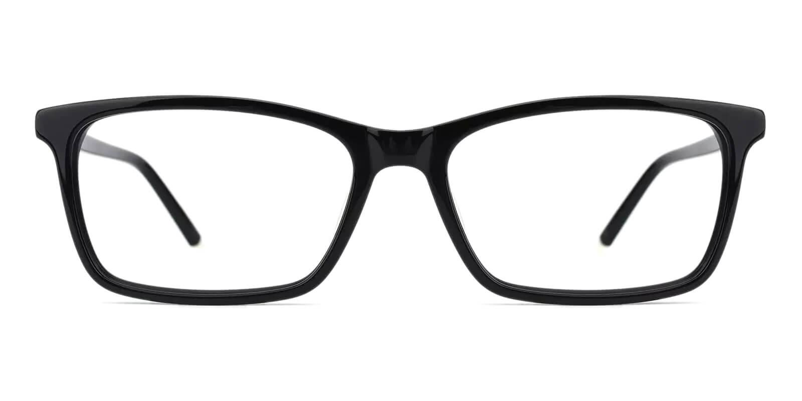 Quasqueton Black Acetate Eyeglasses , SpringHinges , UniversalBridgeFit Frames from ABBE Glasses