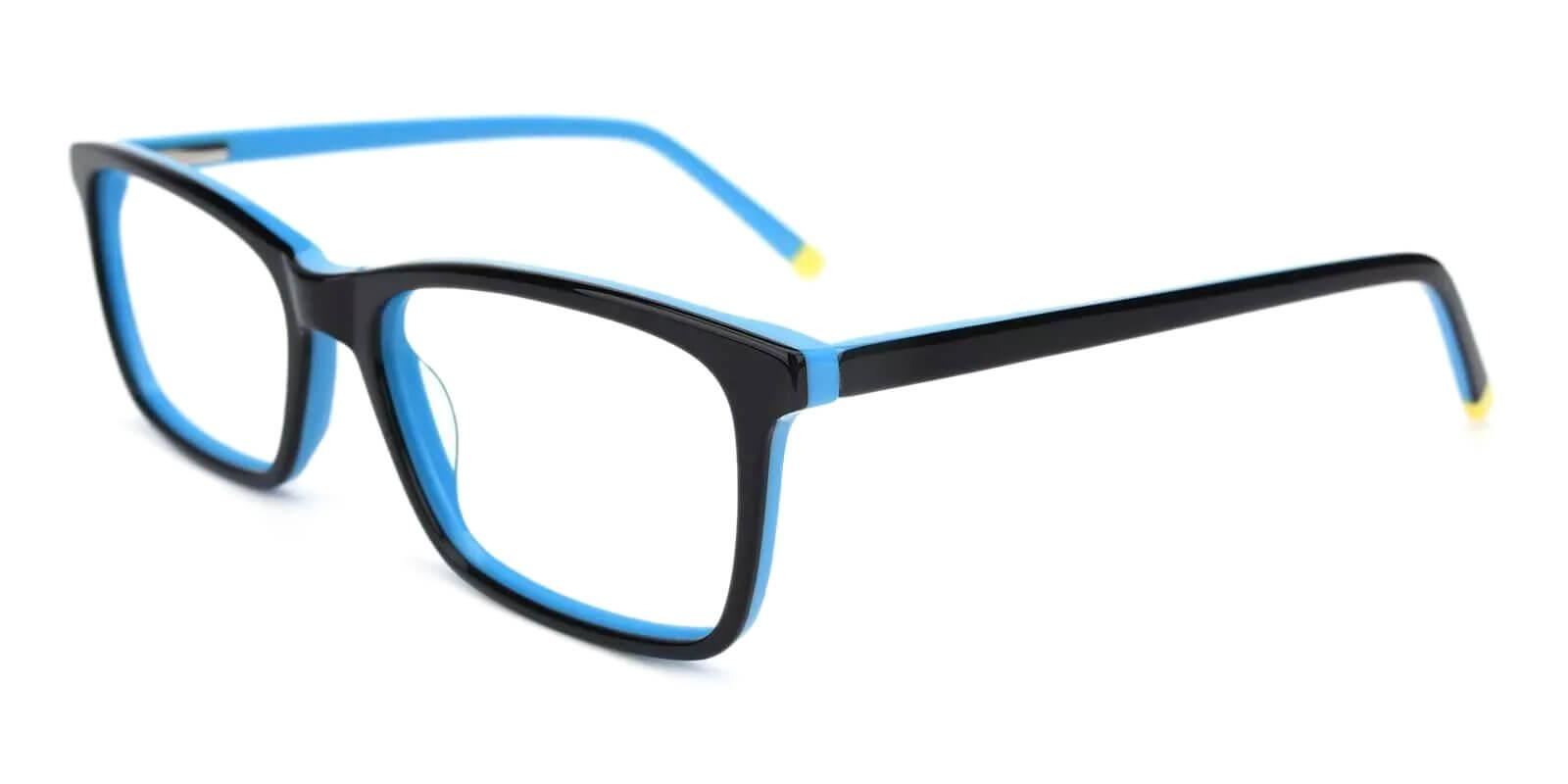 Quasqueton Blue Acetate Eyeglasses , SpringHinges , UniversalBridgeFit Frames from ABBE Glasses