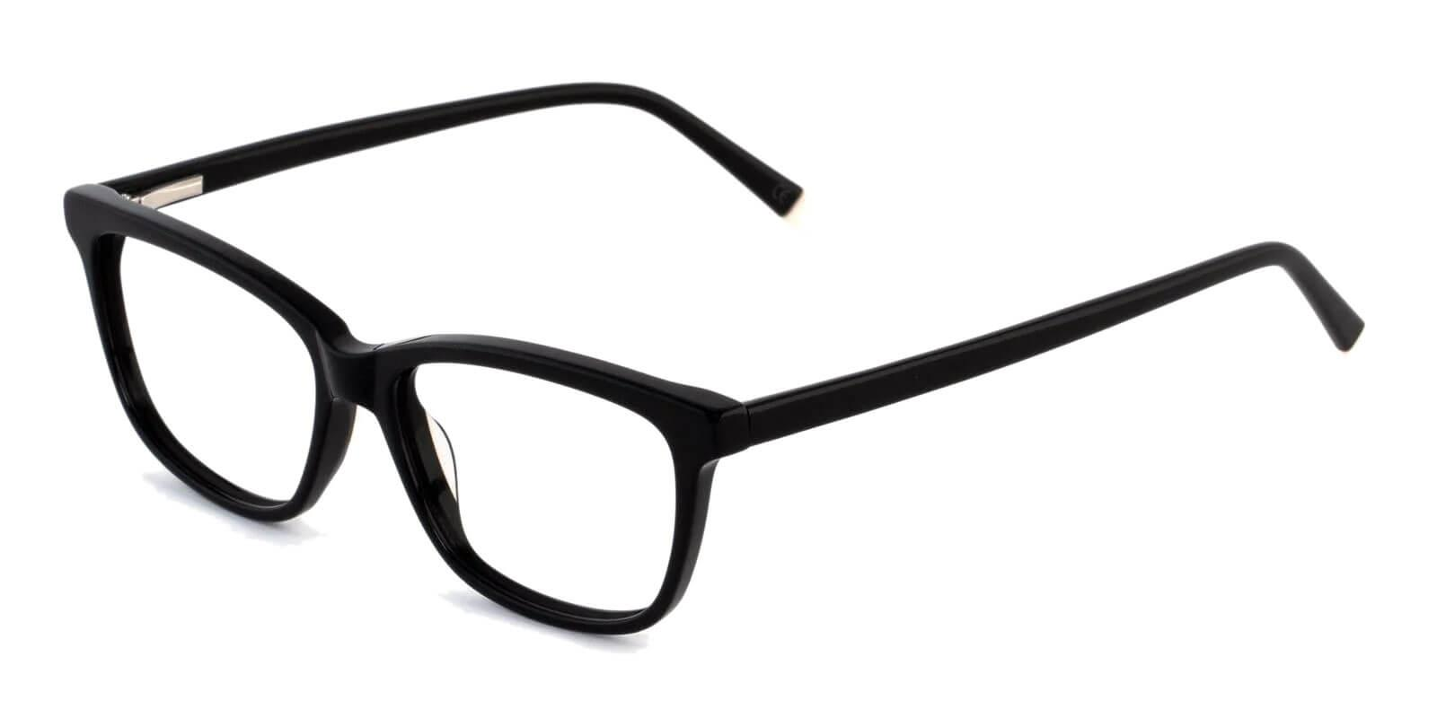 Zion Black Acetate Eyeglasses , SpringHinges , UniversalBridgeFit Frames from ABBE Glasses