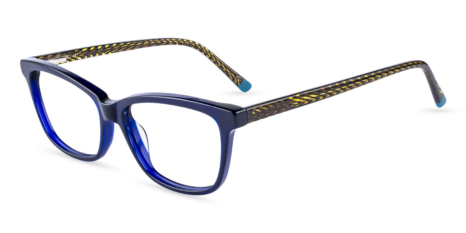 Zion Blue Acetate Eyeglasses , SpringHinges , UniversalBridgeFit Frames from ABBE Glasses