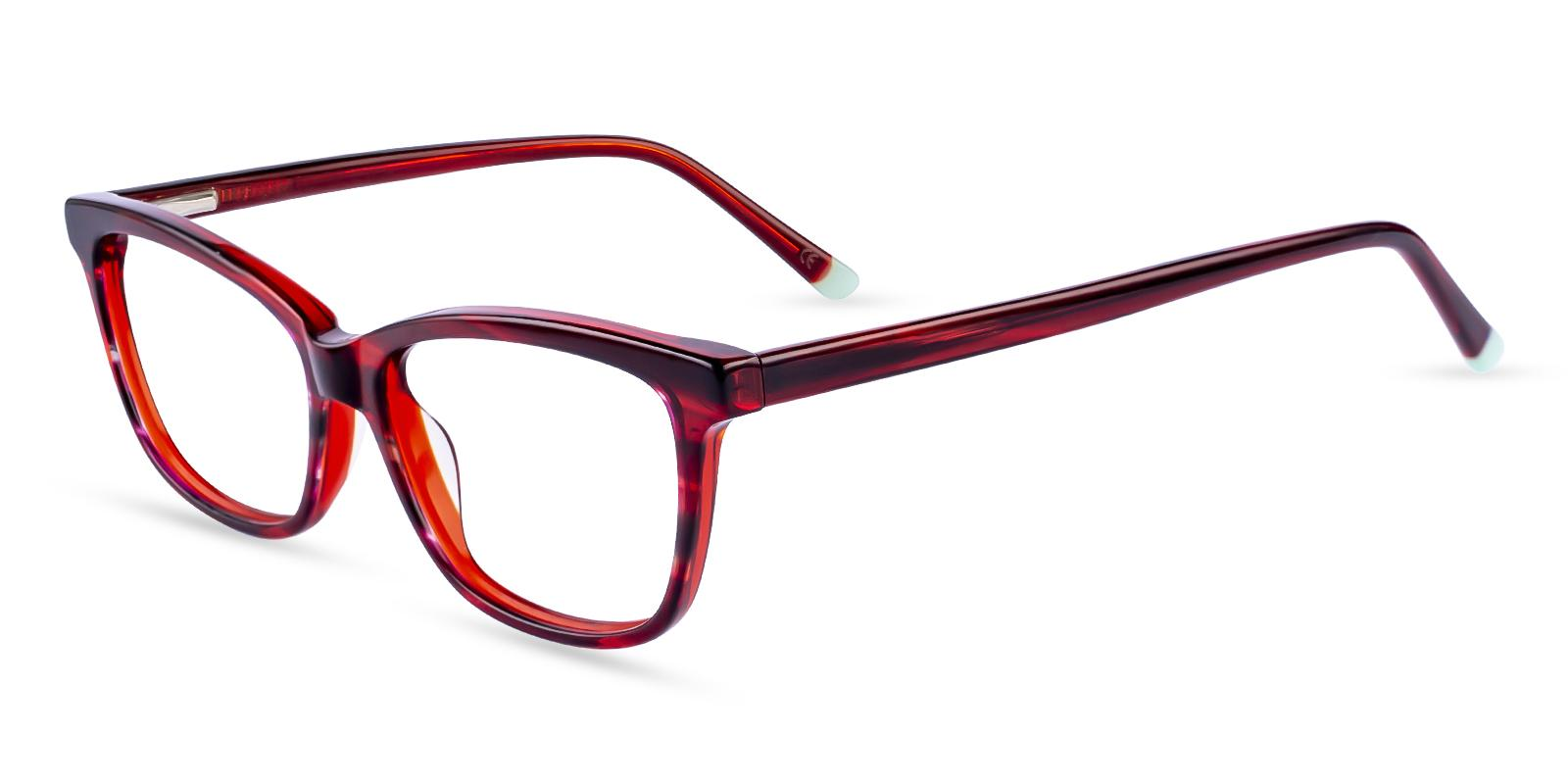 Zion Red Acetate Eyeglasses , SpringHinges , UniversalBridgeFit Frames from ABBE Glasses