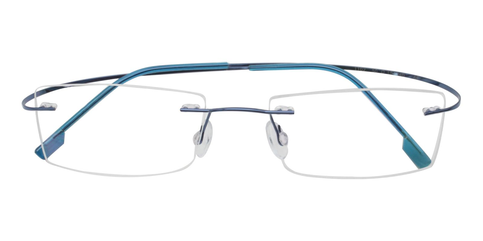 Olivia Blue Metal , Memory Eyeglasses , NosePads Frames from ABBE Glasses