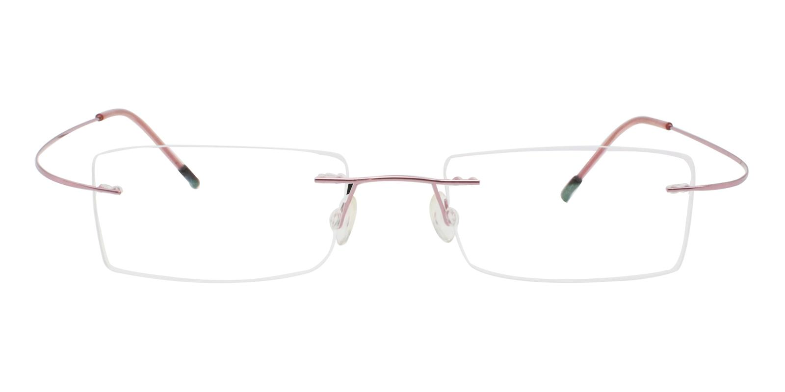 Olivia Pink Metal , Memory Eyeglasses , NosePads Frames from ABBE Glasses