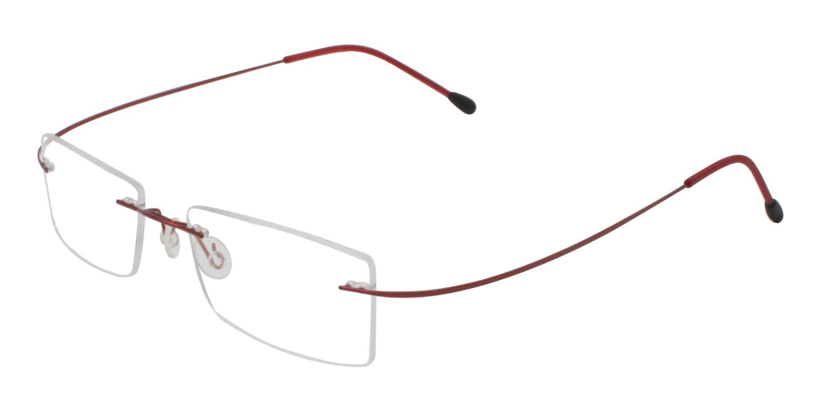 Olivia Red Metal , Memory Eyeglasses , NosePads Frames from ABBE Glasses
