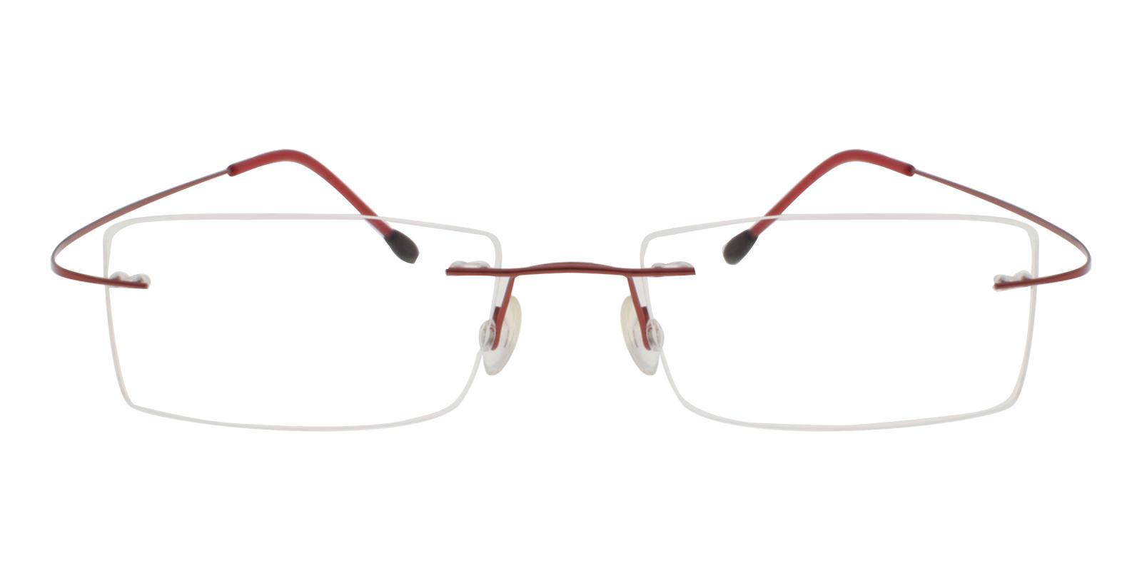 Olivia Red Metal , Memory Eyeglasses , NosePads Frames from ABBE Glasses
