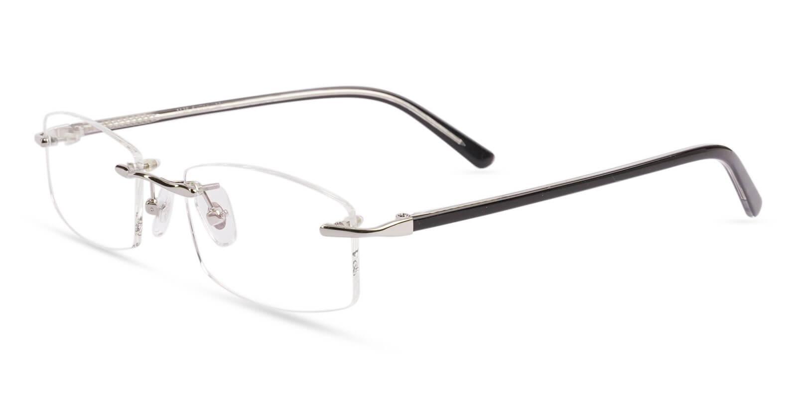 Lucas Silver Metal Eyeglasses , NosePads Frames from ABBE Glasses