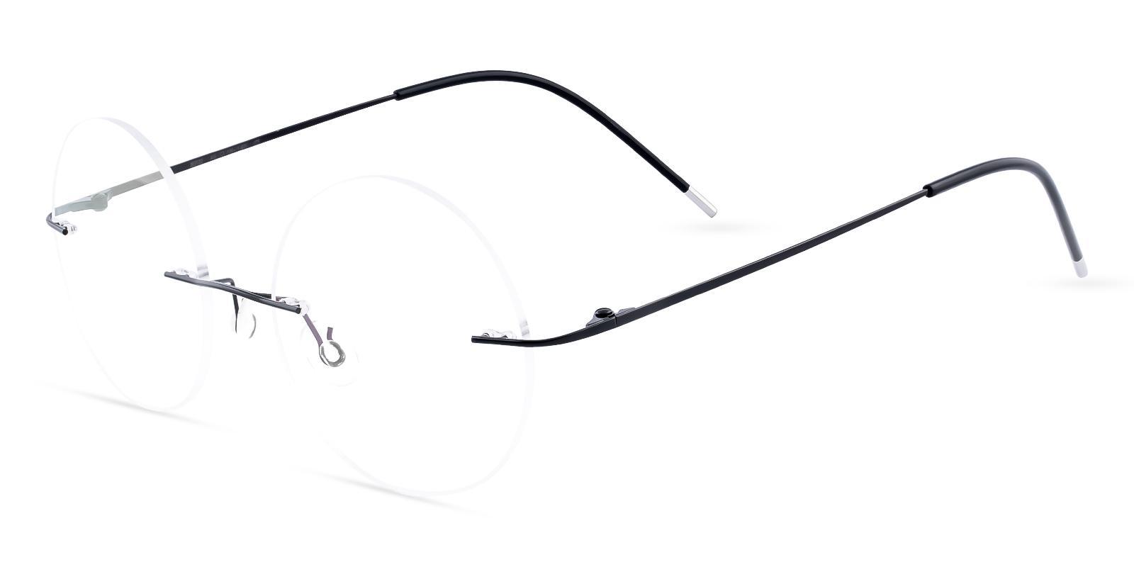 Hiawatha Black Metal Eyeglasses , NosePads Frames from ABBE Glasses