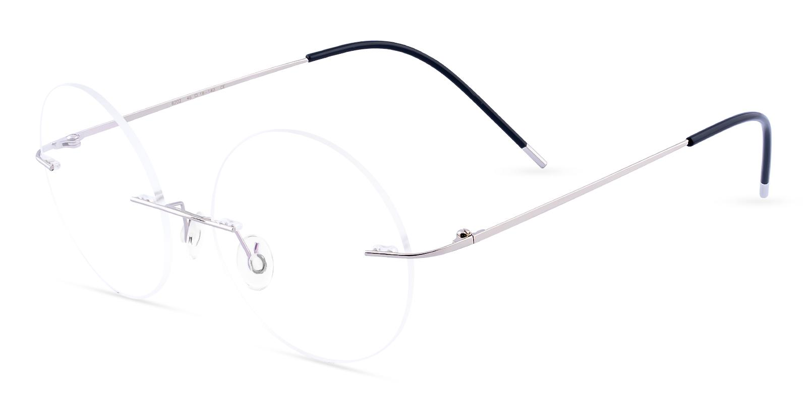 Hiawatha Silver Metal Eyeglasses , NosePads Frames from ABBE Glasses