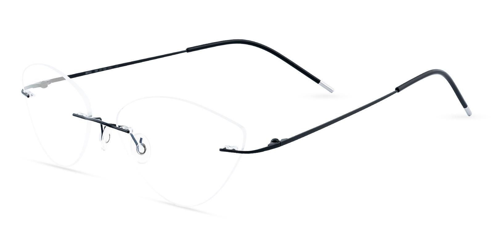 Huguenot Black Metal Eyeglasses , NosePads Frames from ABBE Glasses