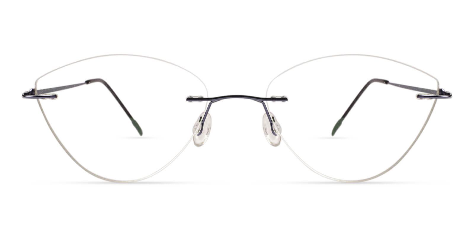 Huguenot Blue Metal Eyeglasses , NosePads Frames from ABBE Glasses