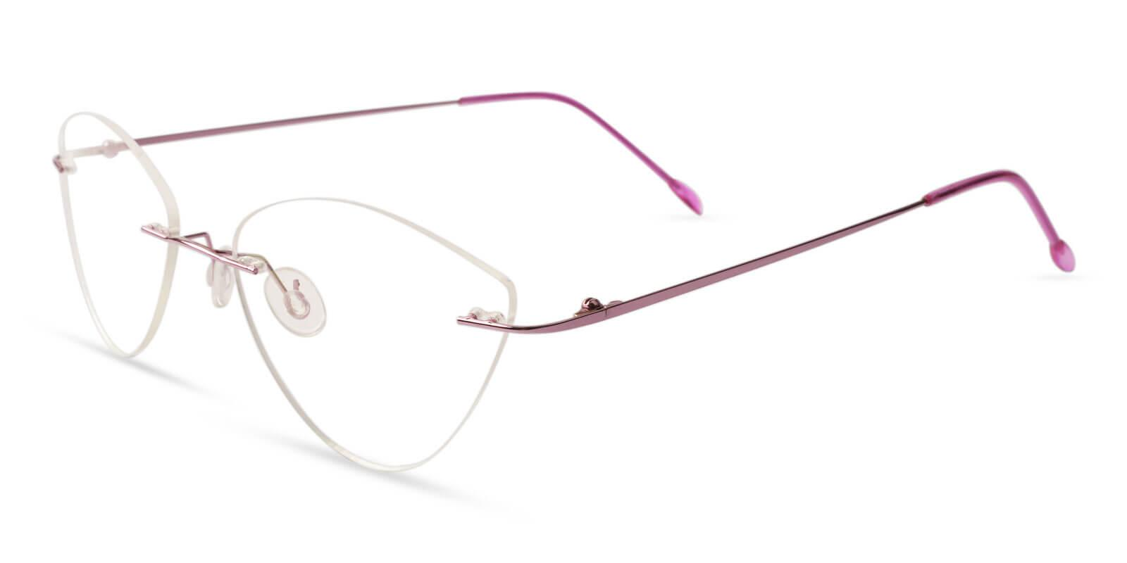 Huguenot Pink Metal Eyeglasses , NosePads Frames from ABBE Glasses