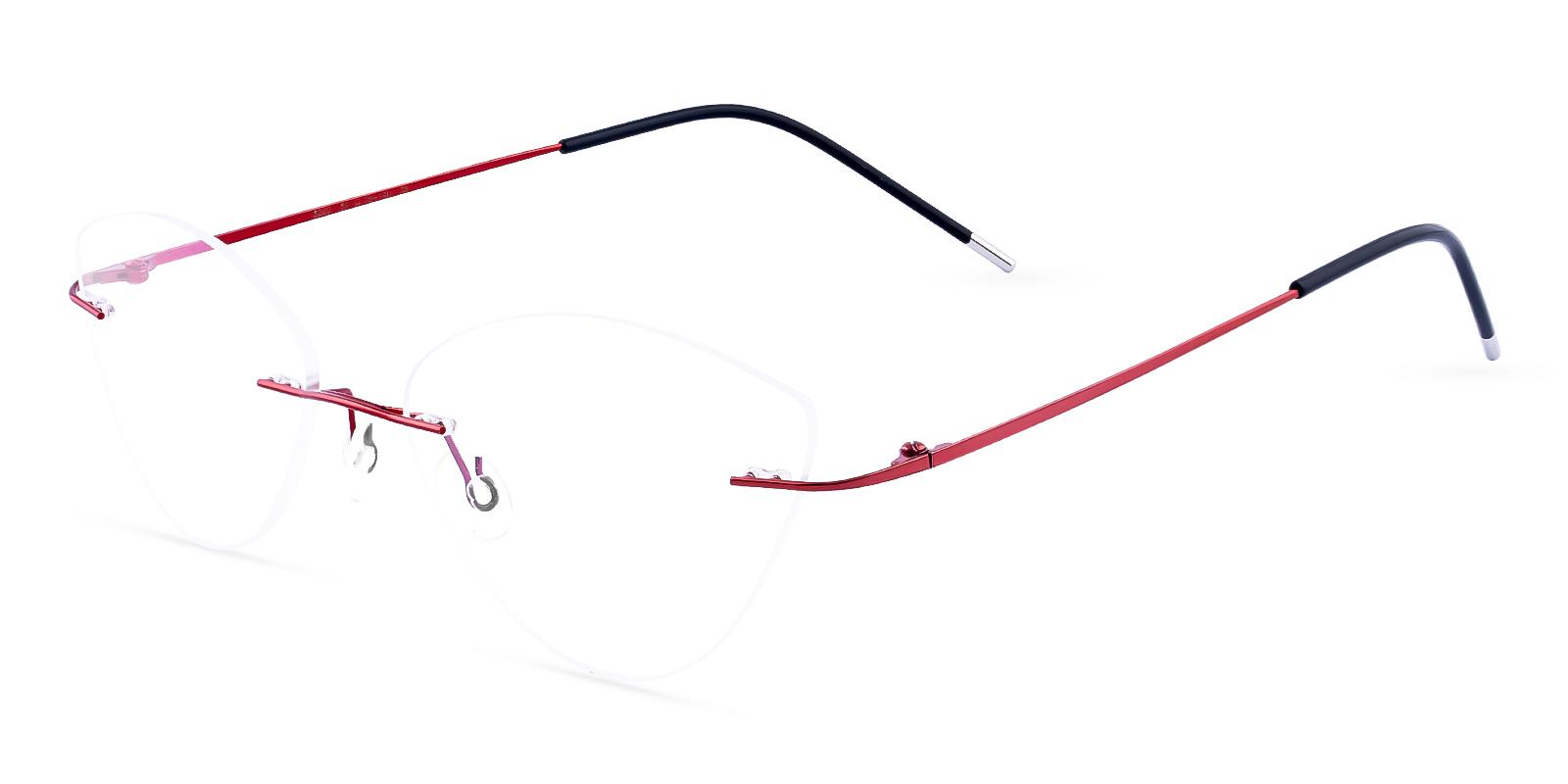 Huguenot Red Metal Eyeglasses , NosePads Frames from ABBE Glasses