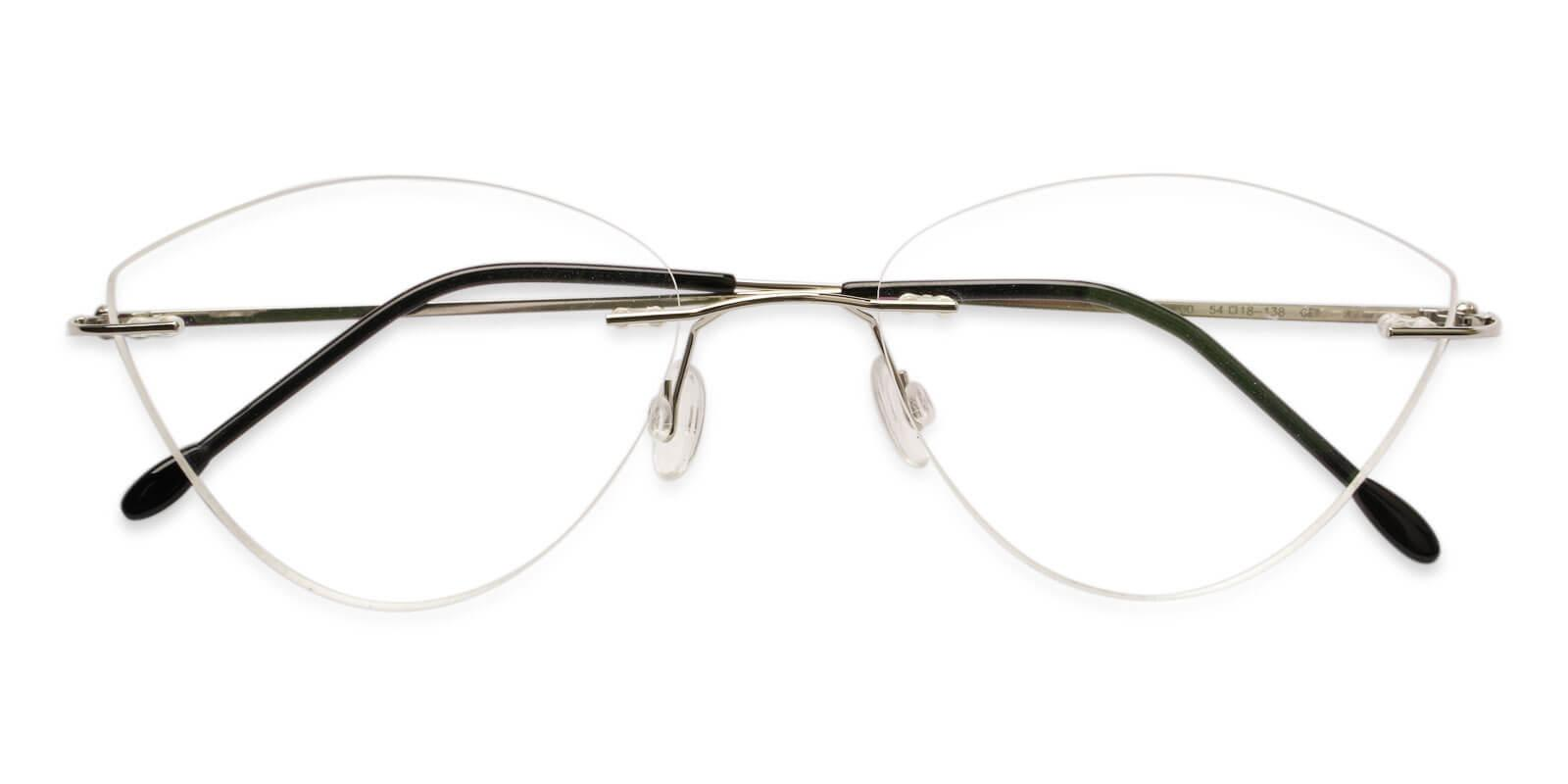 Huguenot Silver Metal Eyeglasses , NosePads Frames from ABBE Glasses