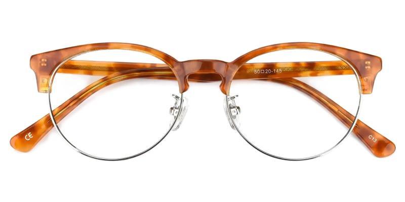 Brown Luna - Metal , Combination , TR Eyeglasses , NosePads