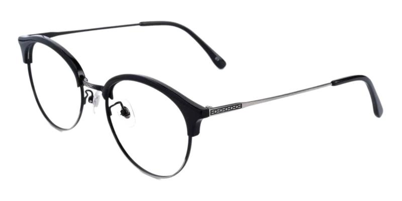 Black Evelyn - Metal , Combination , TR Eyeglasses , NosePads