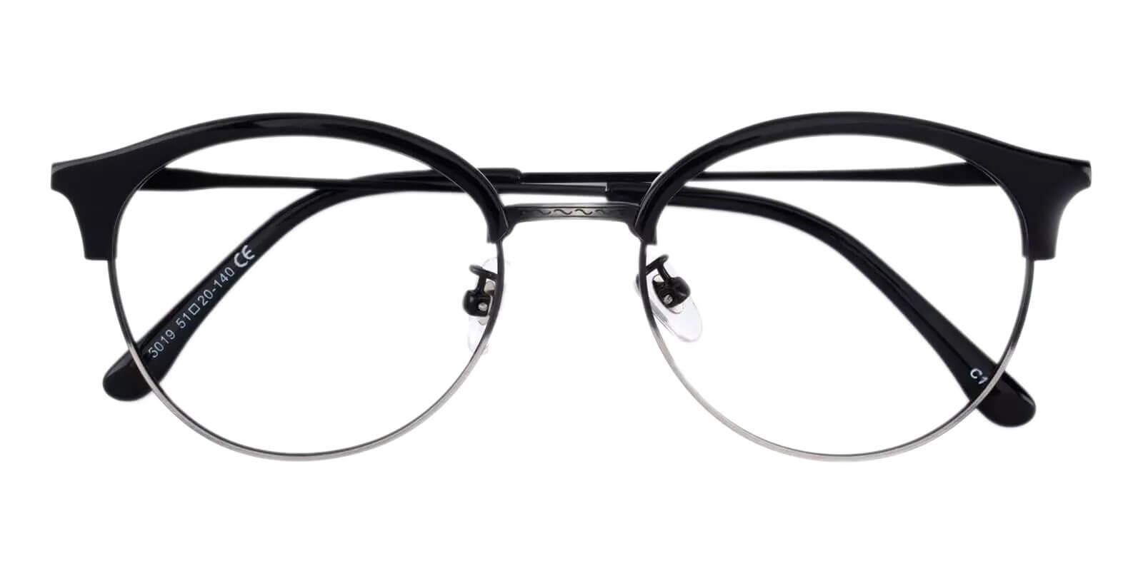 Evelyn Black Metal , Combination , TR Eyeglasses , NosePads Frames from ABBE Glasses