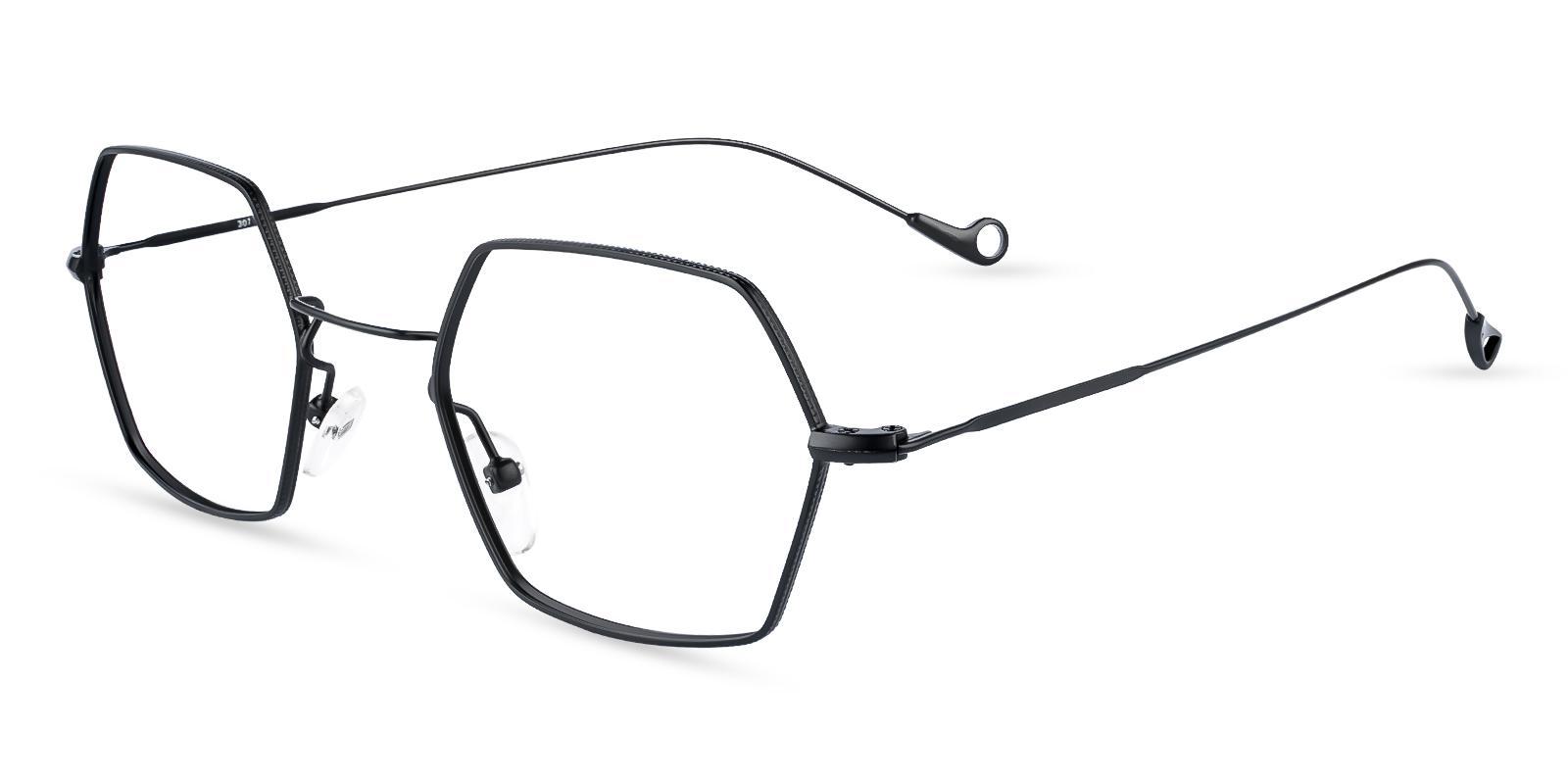 Crystal Black Metal Eyeglasses , NosePads Frames from ABBE Glasses