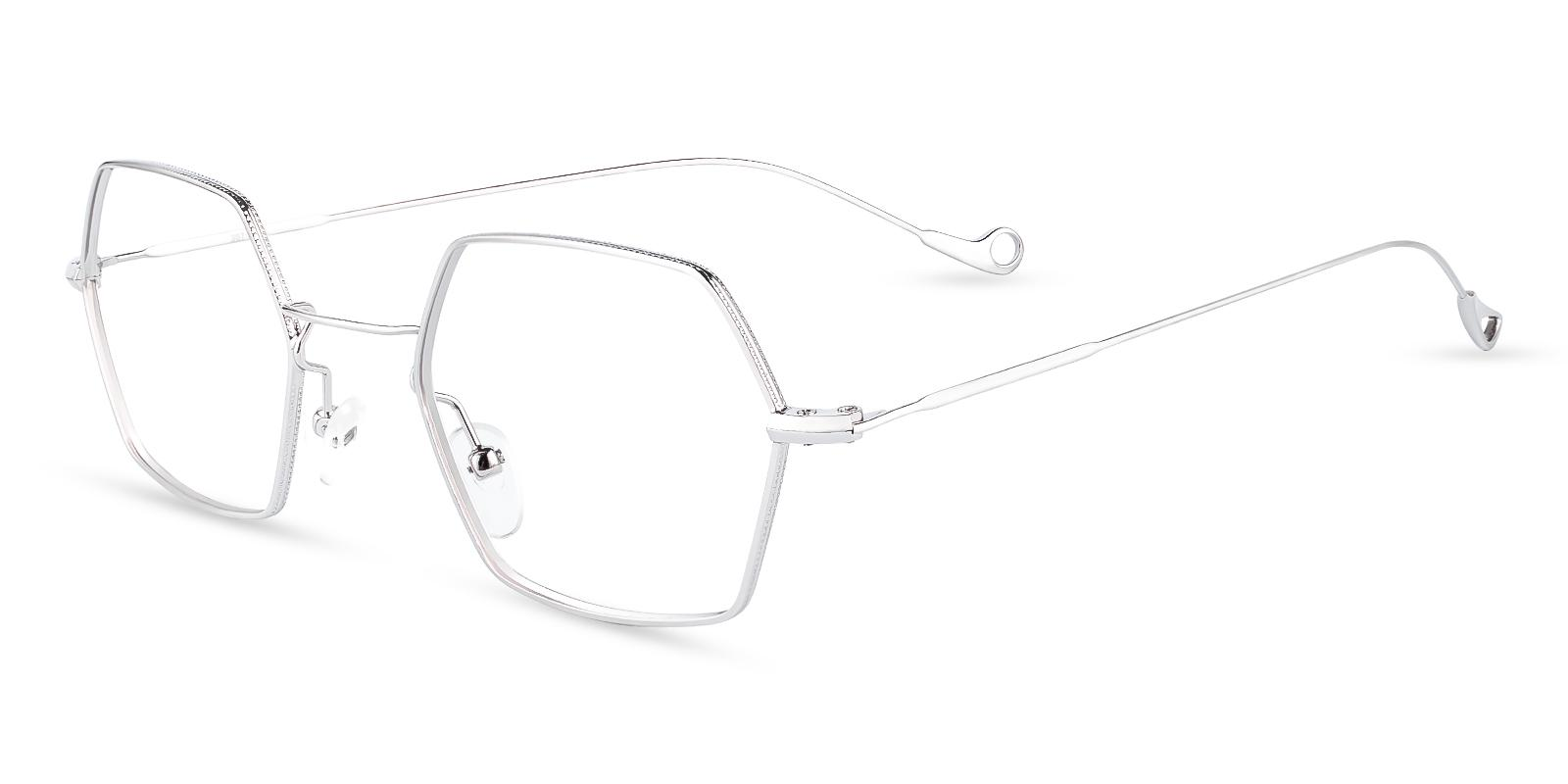 Crystal Silver Metal Eyeglasses , NosePads Frames from ABBE Glasses