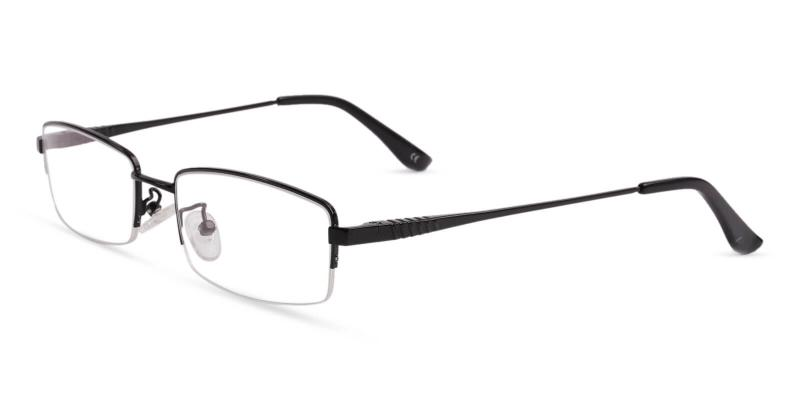 Black Grayson - Metal Eyeglasses , NosePads , SpringHinges