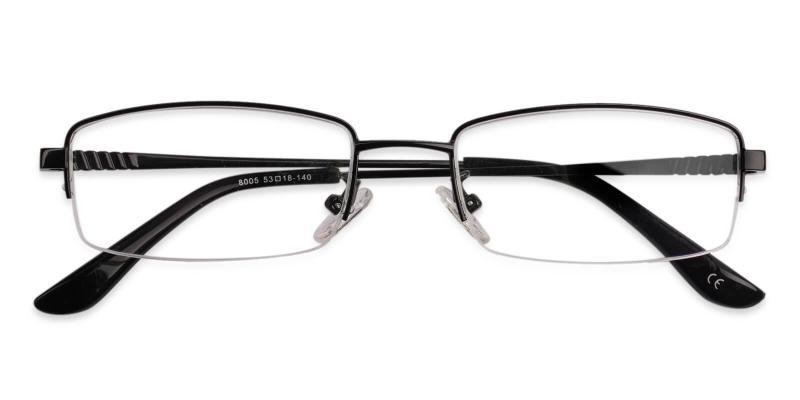 Black Grayson - Metal Eyeglasses , NosePads , SpringHinges