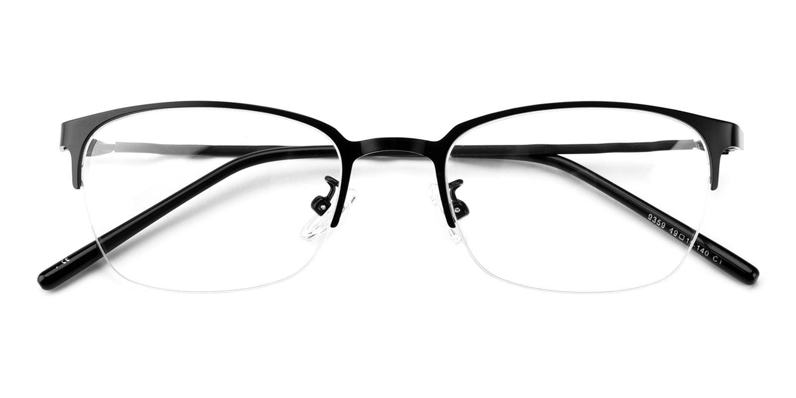 Lassiter Black Metal Eyeglasses , NosePads Frames from ABBE Glasses