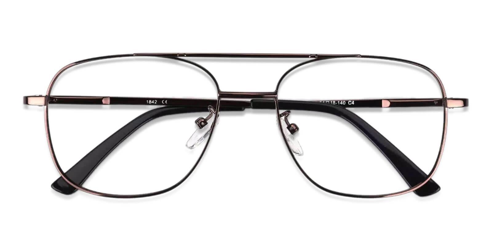 Gatewood Brown Metal Eyeglasses , NosePads , SpringHinges Frames from ABBE Glasses