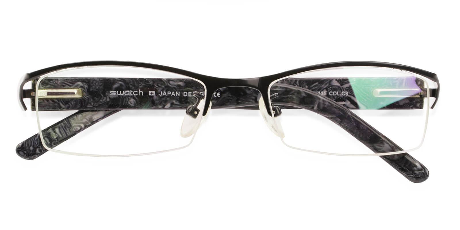 Flynn Black Metal Eyeglasses , NosePads , SpringHinges Frames from ABBE Glasses