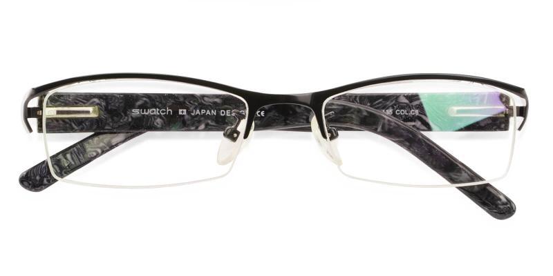 Black Flynn - Metal Eyeglasses , NosePads , SpringHinges