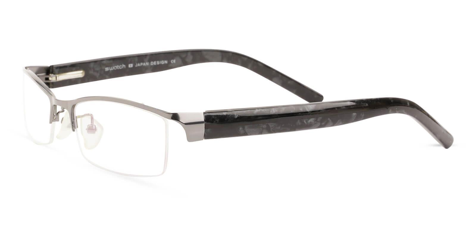 Flynn Gun Metal Eyeglasses , NosePads , SpringHinges Frames from ABBE Glasses