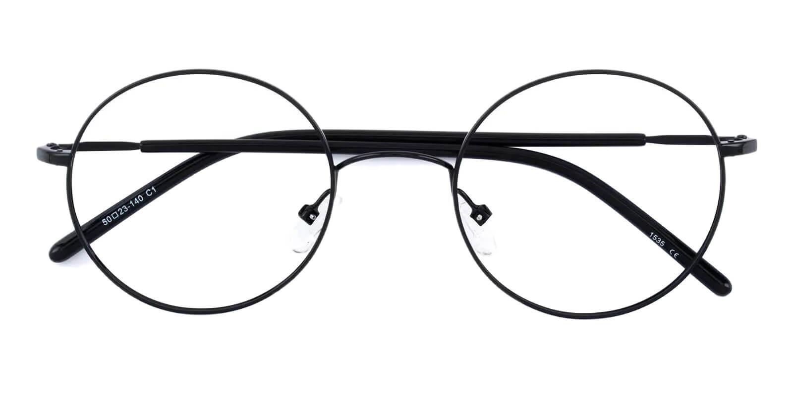 Zoey Black Metal Eyeglasses , Lightweight , NosePads Frames from ABBE Glasses