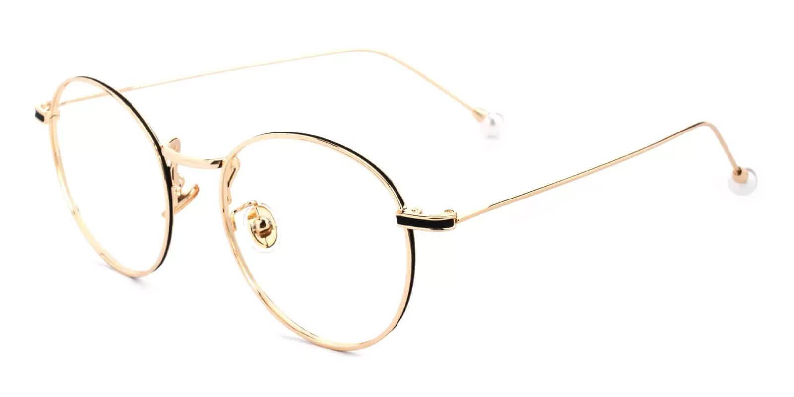 Pearl Gold Metal Eyeglasses , NosePads Frames from ABBE Glasses