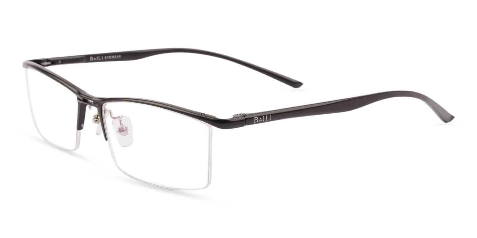 Mateo Black Metal Eyeglasses , NosePads , SpringHinges Frames from ABBE Glasses
