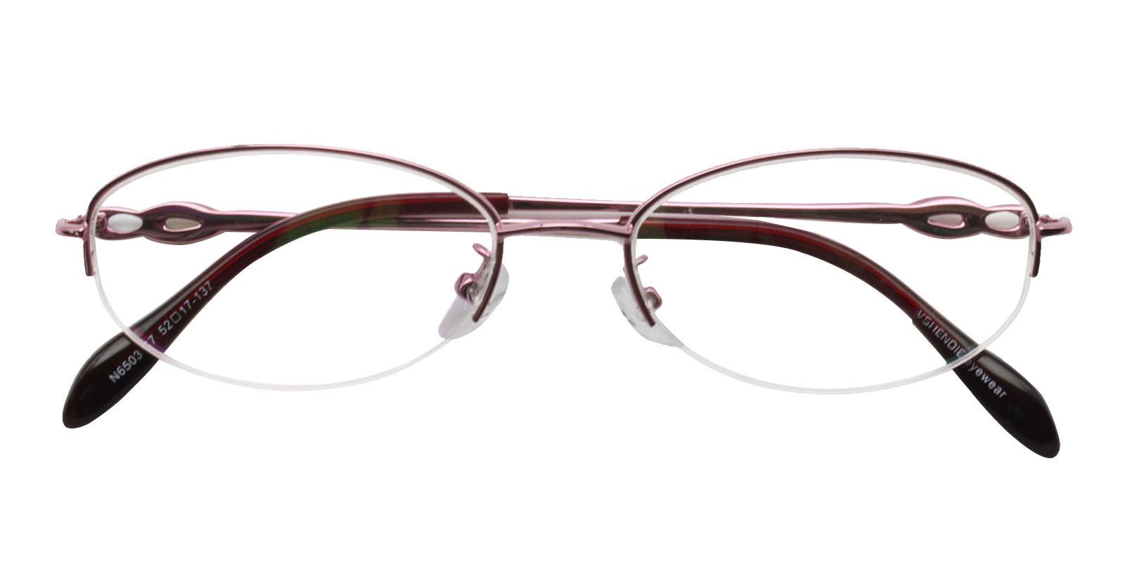 Bella Pink Metal Eyeglasses , NosePads Frames from ABBE Glasses