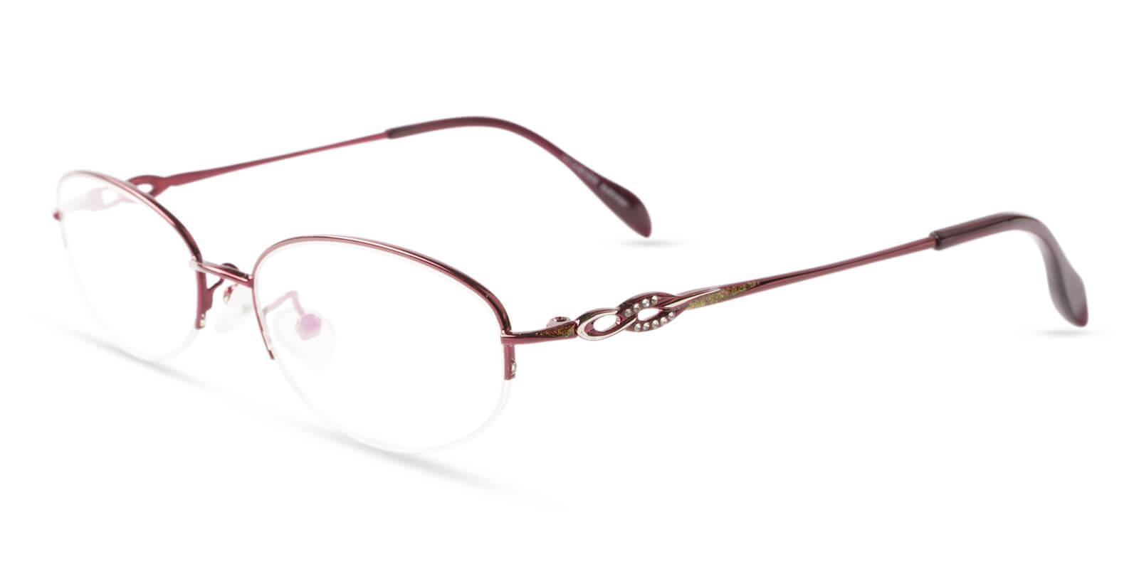 Bella Red Metal Eyeglasses , NosePads Frames from ABBE Glasses