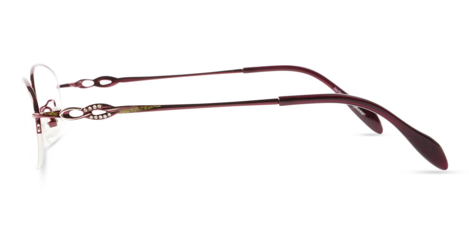Bella Red Metal Eyeglasses , NosePads Frames from ABBE Glasses