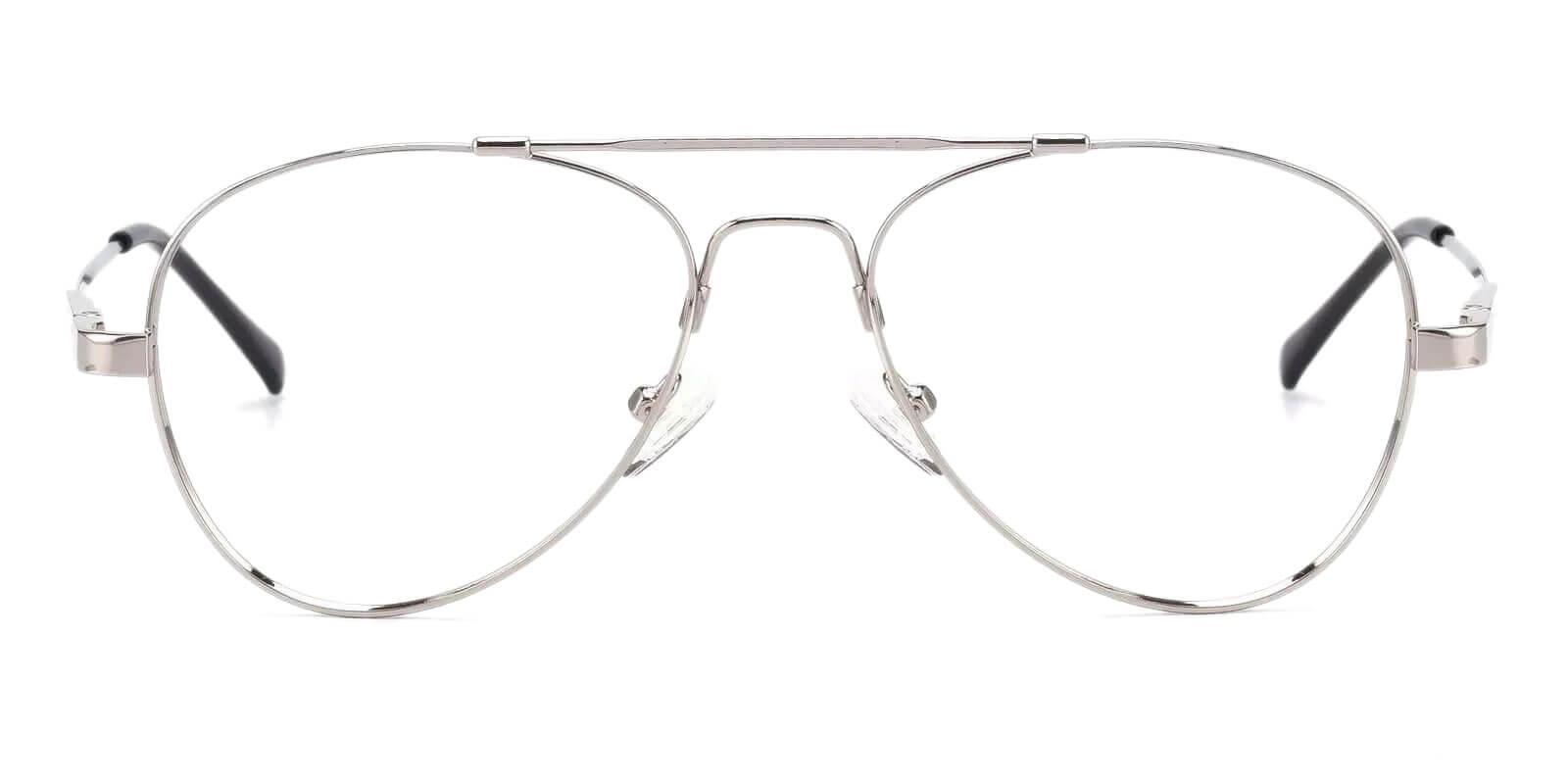 Hunter Silver Metal Eyeglasses , NosePads Frames from ABBE Glasses