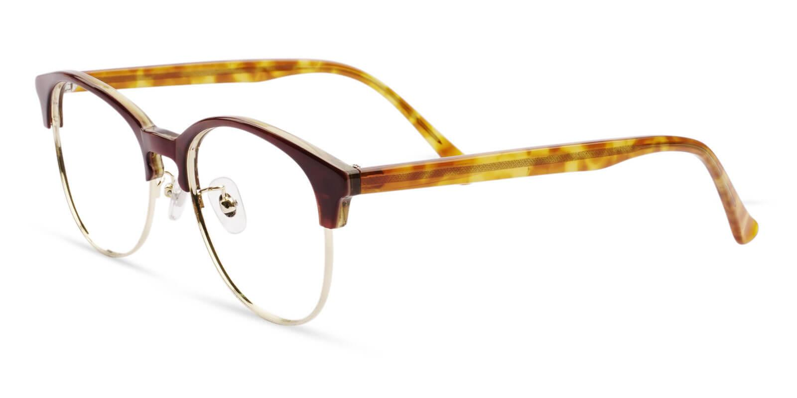 Hazel Brown Combination Eyeglasses , NosePads Frames from ABBE Glasses